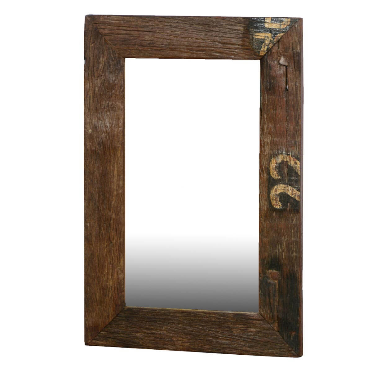 Disappearing numbers rustic wide framed reclaimed wood for Rustic mirror