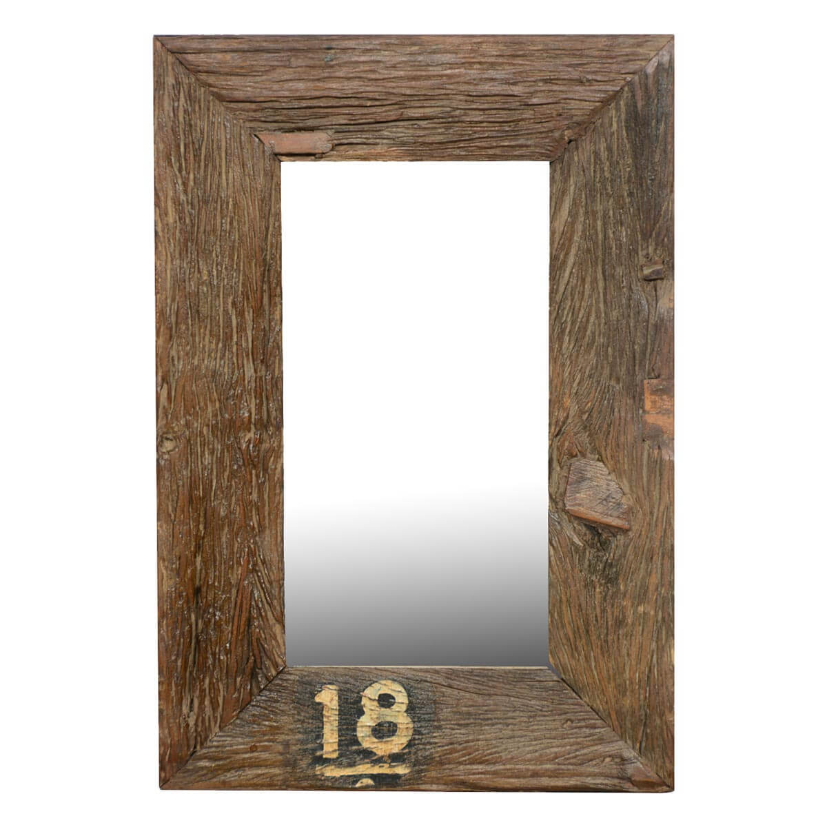 Forever 18 rustic wide framed reclaimed wood wall mirror for Wooden mirror