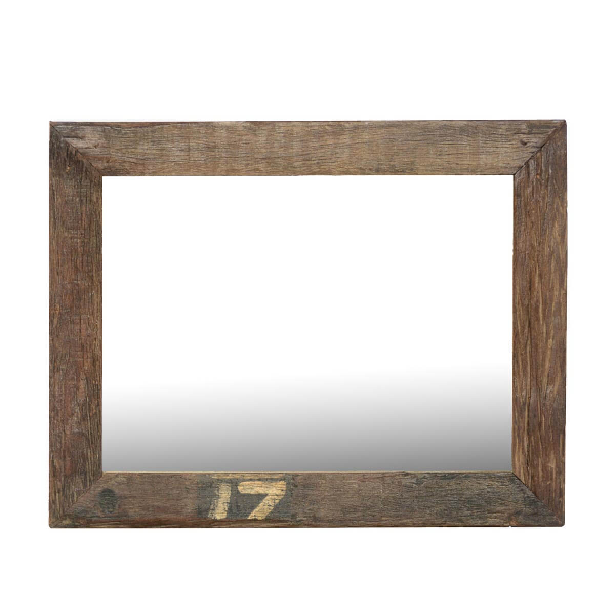 Lucky 17 rustic large reclaimed wood wall mirror w simple for Large wall mirror wood frame