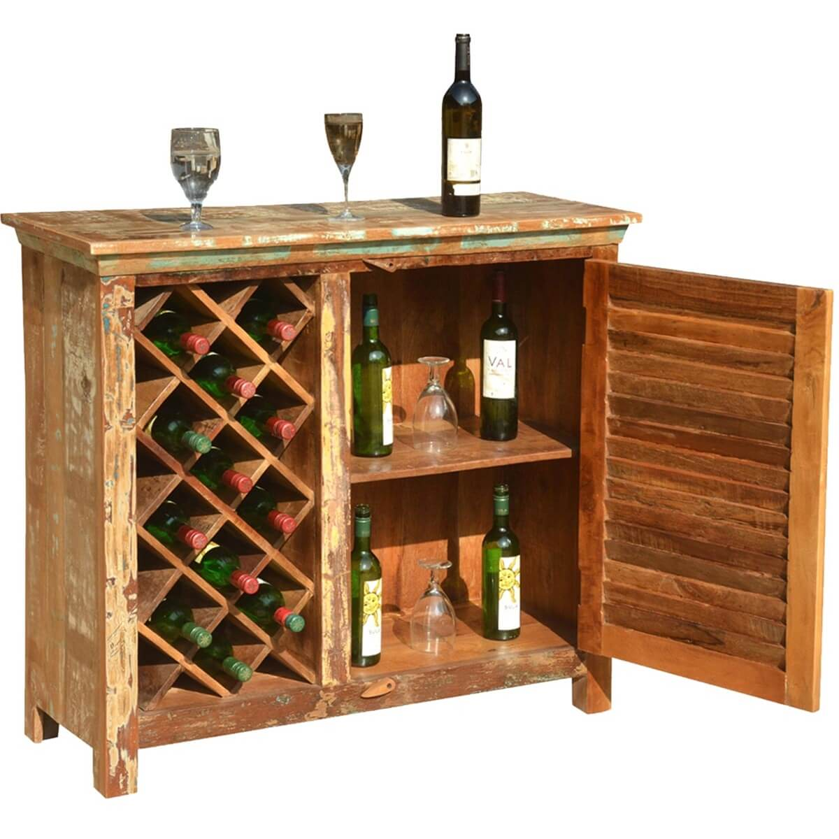 Wood Wine Bar ~ Garrard rustic reclaimed wood single door bar cabinet w