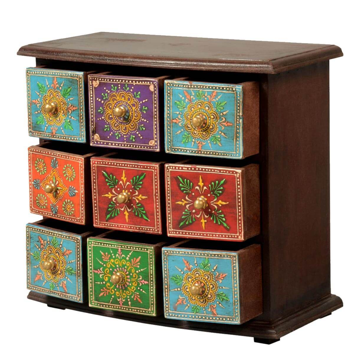 Marvelous photograph of  Furniture Pidgeon Hole Mango Wood 9 Drawer Hand Painted Jewelry Chest with #B27F19 color and 1200x1200 pixels
