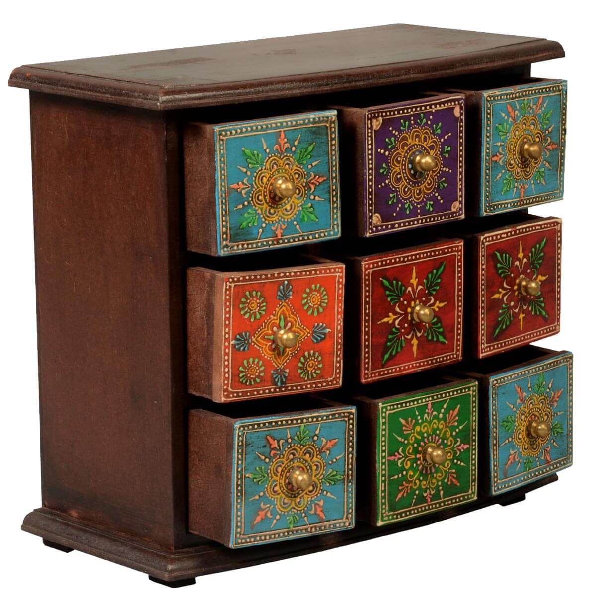 pidgeon hole mango wood 9 drawer hand painted jewelry chest. Black Bedroom Furniture Sets. Home Design Ideas