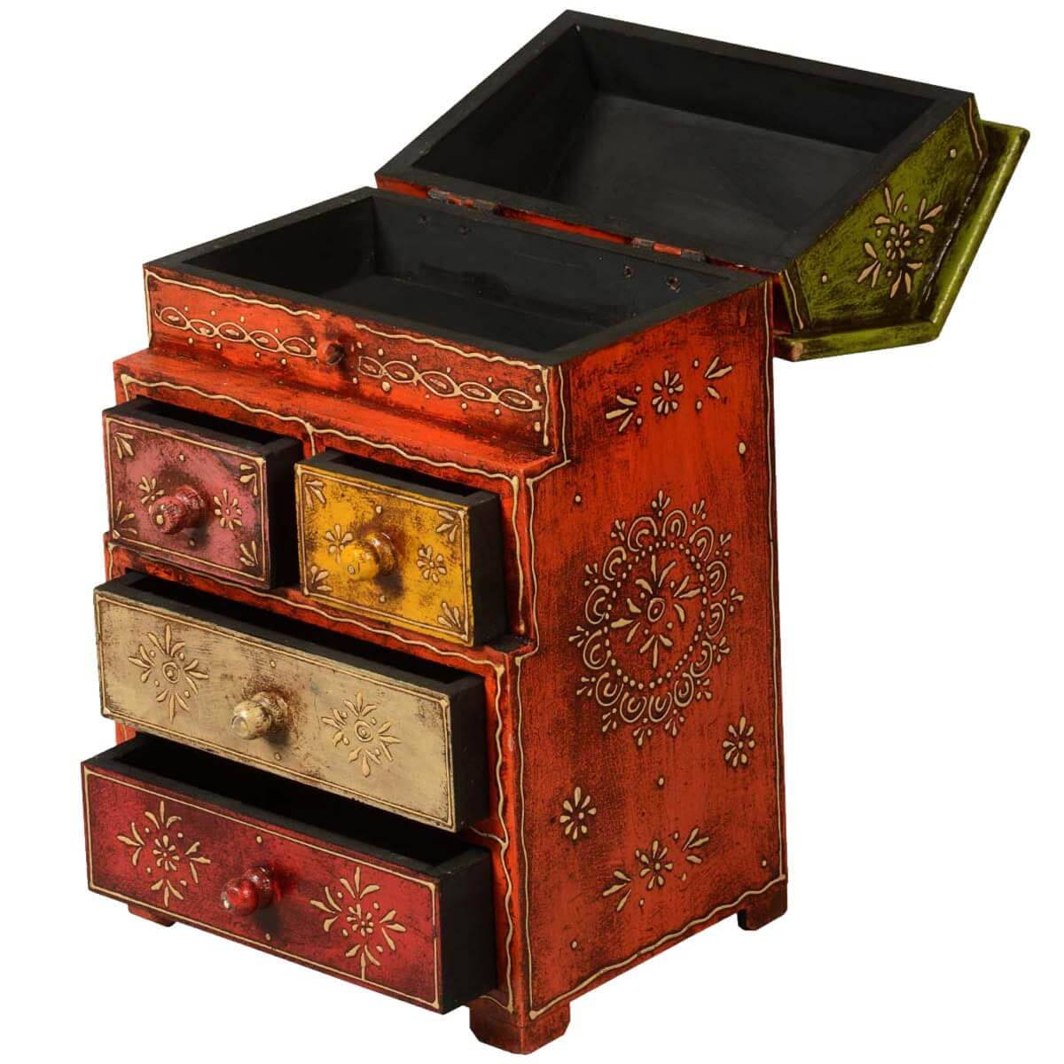 Rustic Motors 3d Custom Made Jewelry Home: Little House Mango Wood Hand Painted 4-Drawer & Shelf