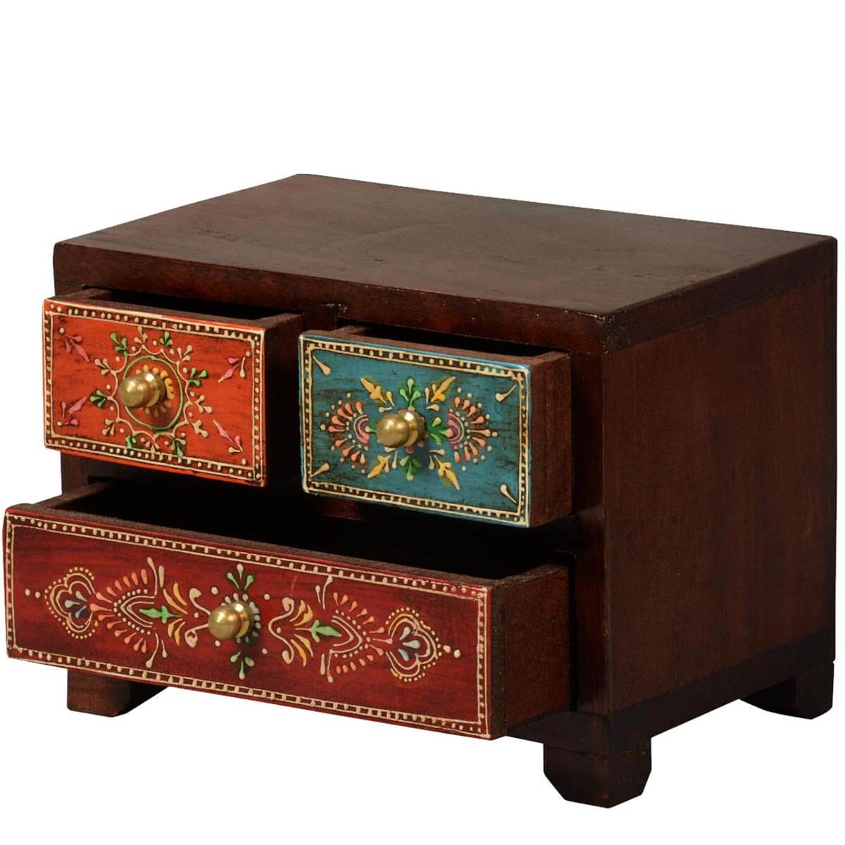kolkata tapestry mango wood 3 drawer hand painted jewelry