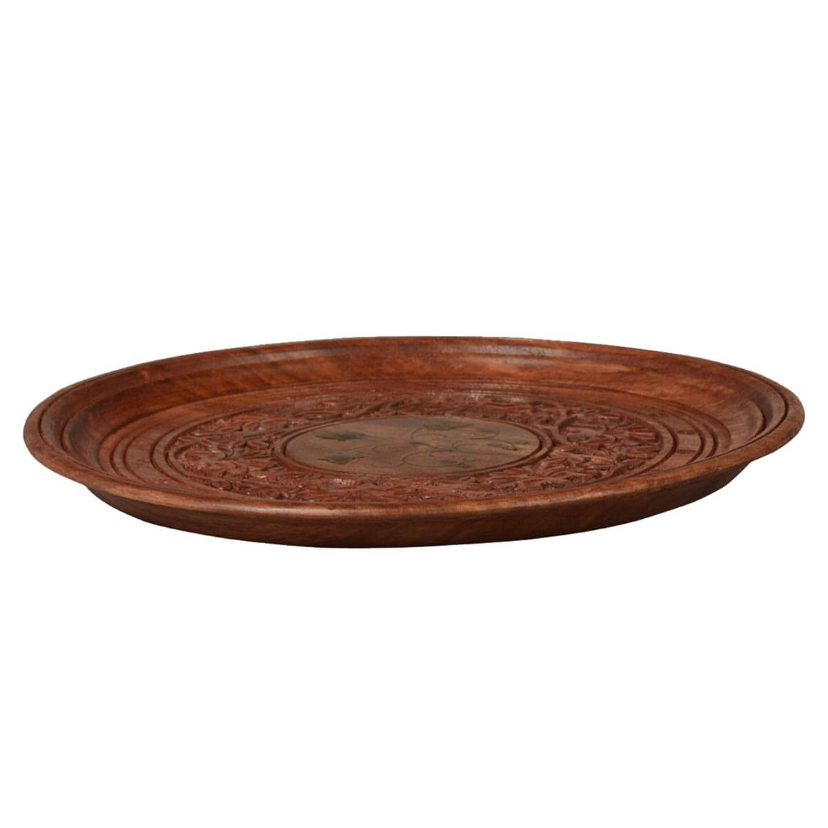 Twisted Vine Hand Carved Mango Wood   Round Wooden Serving Tray