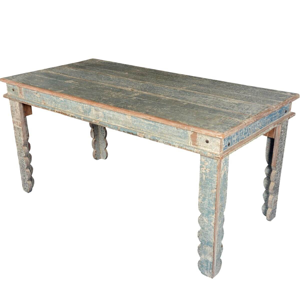 Country Blue Reclaimed Wood Scalloped Legs Dining Table