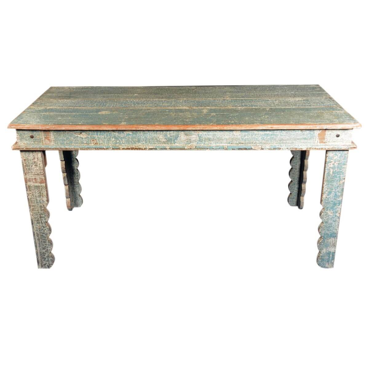 Country blue reclaimed wood scalloped legs dining table for Repurposed kitchen table