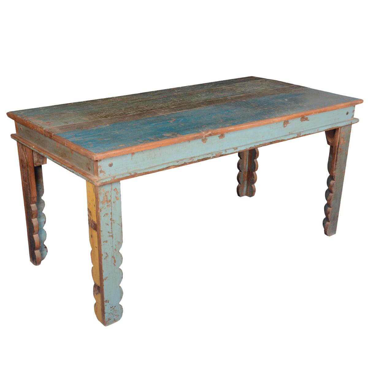 rustic farmhouse reclaimed wood blue kitchen table