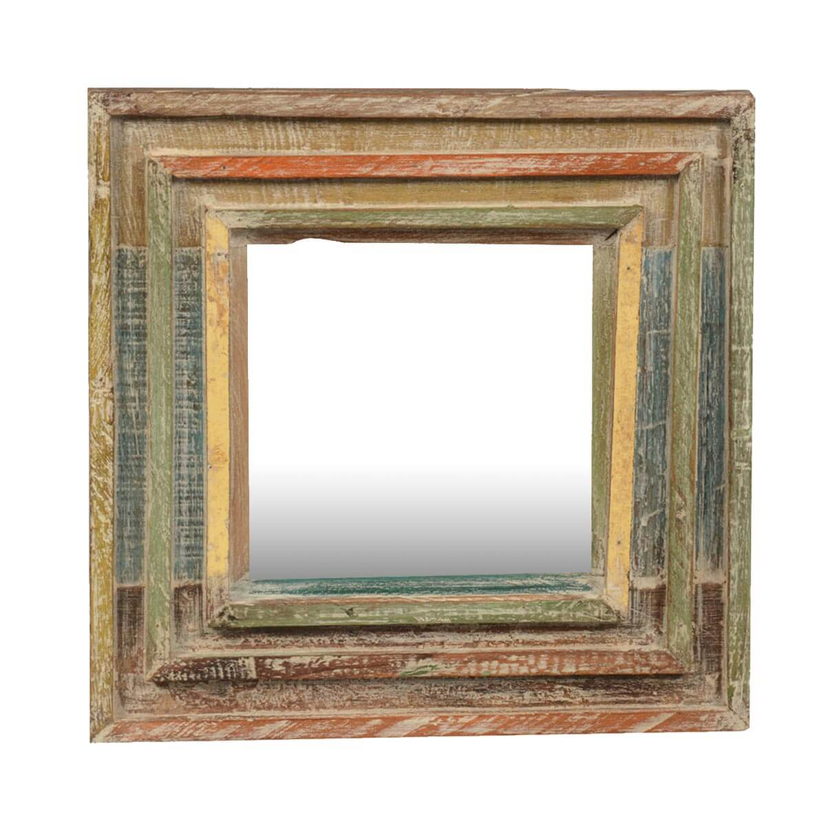 Rainbow rustic reclaimed wood 12 5 square framed wall mirror for Rustic mirror