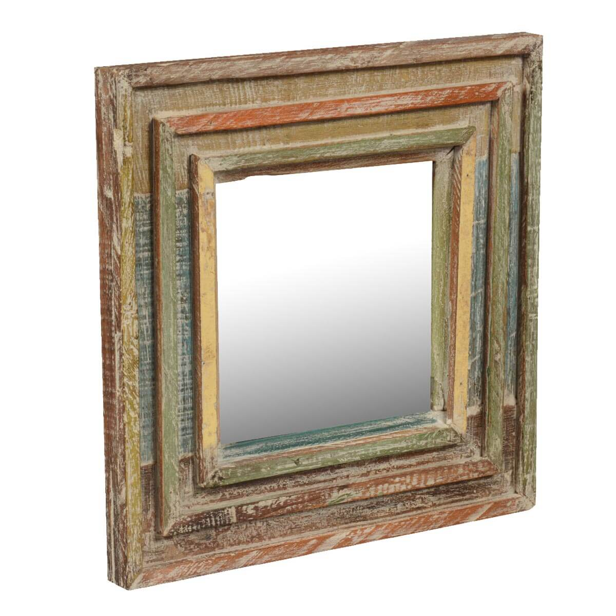 Rainbow rustic reclaimed wood 12 5 square framed wall mirror for Square mirror