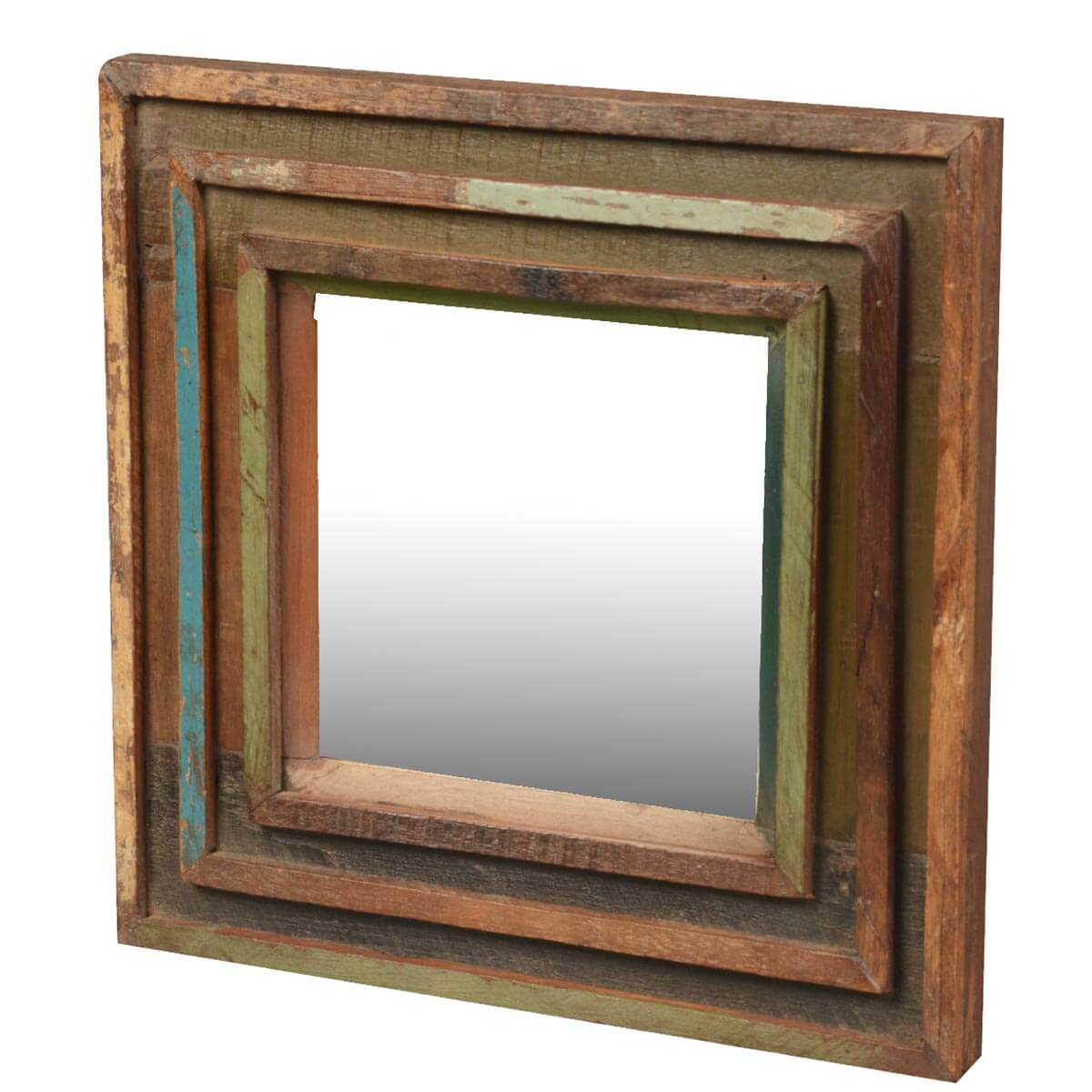 Appalachian rustic reclaimed wood 12 5 square framed wall for Wood framed mirrors