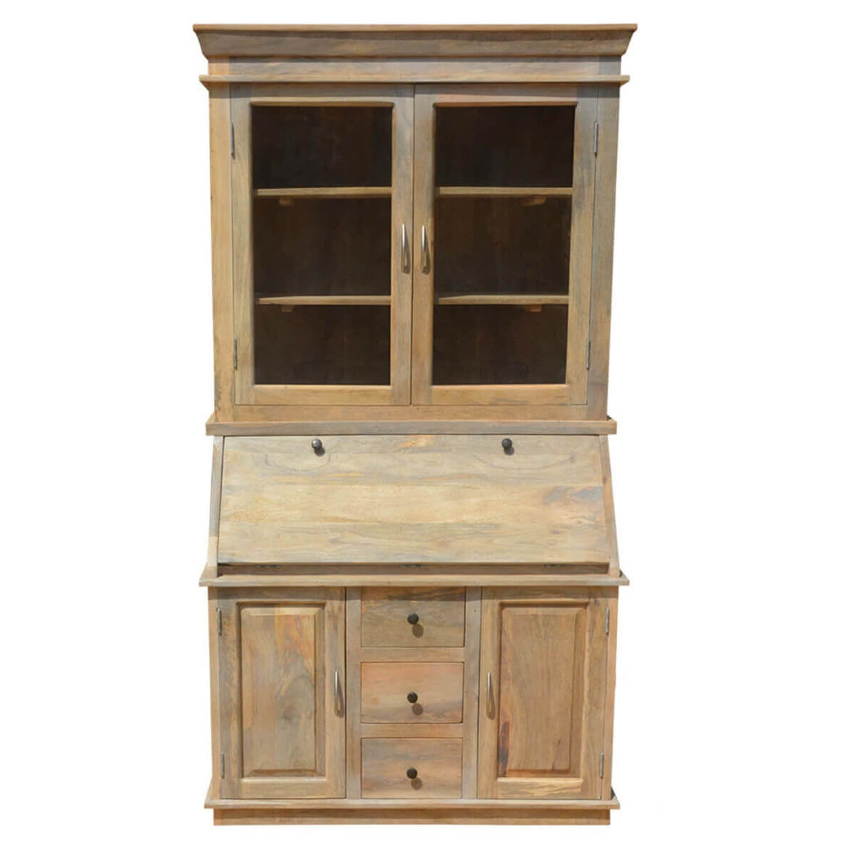 Shaker Drop Front Wooden Secretary Desk Display Cabinet Hutch