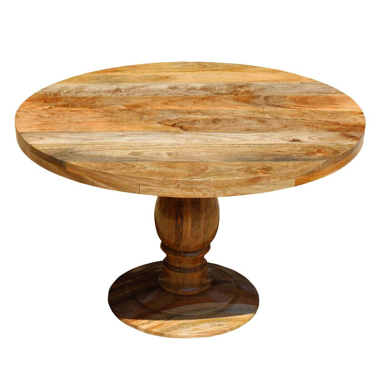 rustic mango wood 48 round pedestal dining table ebay
