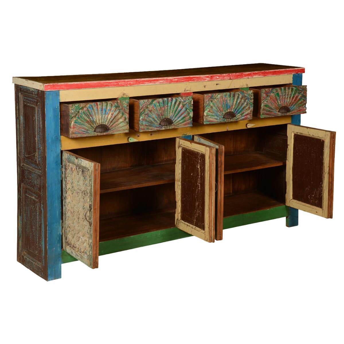Painted Wooden Sideboard ~ Shreve painted reclaimed wood drawer sideboard cabinet