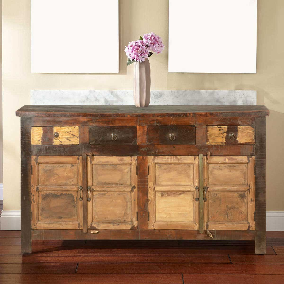Reclaimed Wood Sideboard ~ New england rustic reclaimed wood drawer sideboard