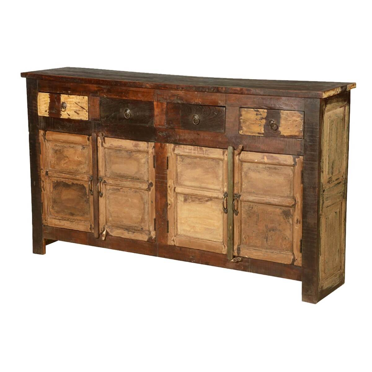 Reclaimed Wood Sideboard ~ New england rustic reclaimed wood drawer large sideboard