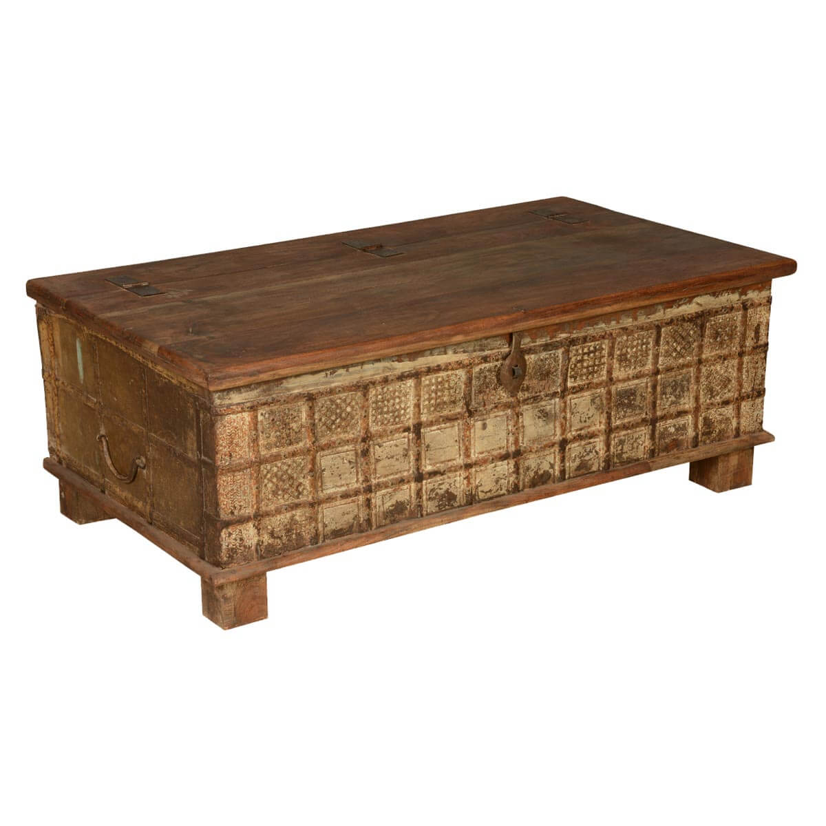 Gothic reclaimed wood coffee table chest for Reclaimed coffee table