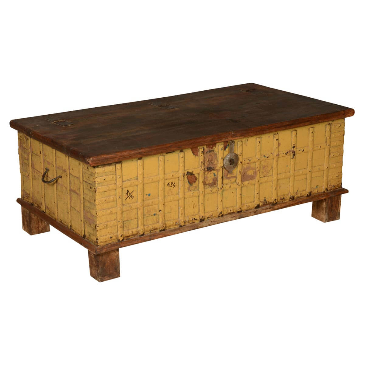Yellow Brown Gothic Reclaimed Wood Standing Coffee Table Chest