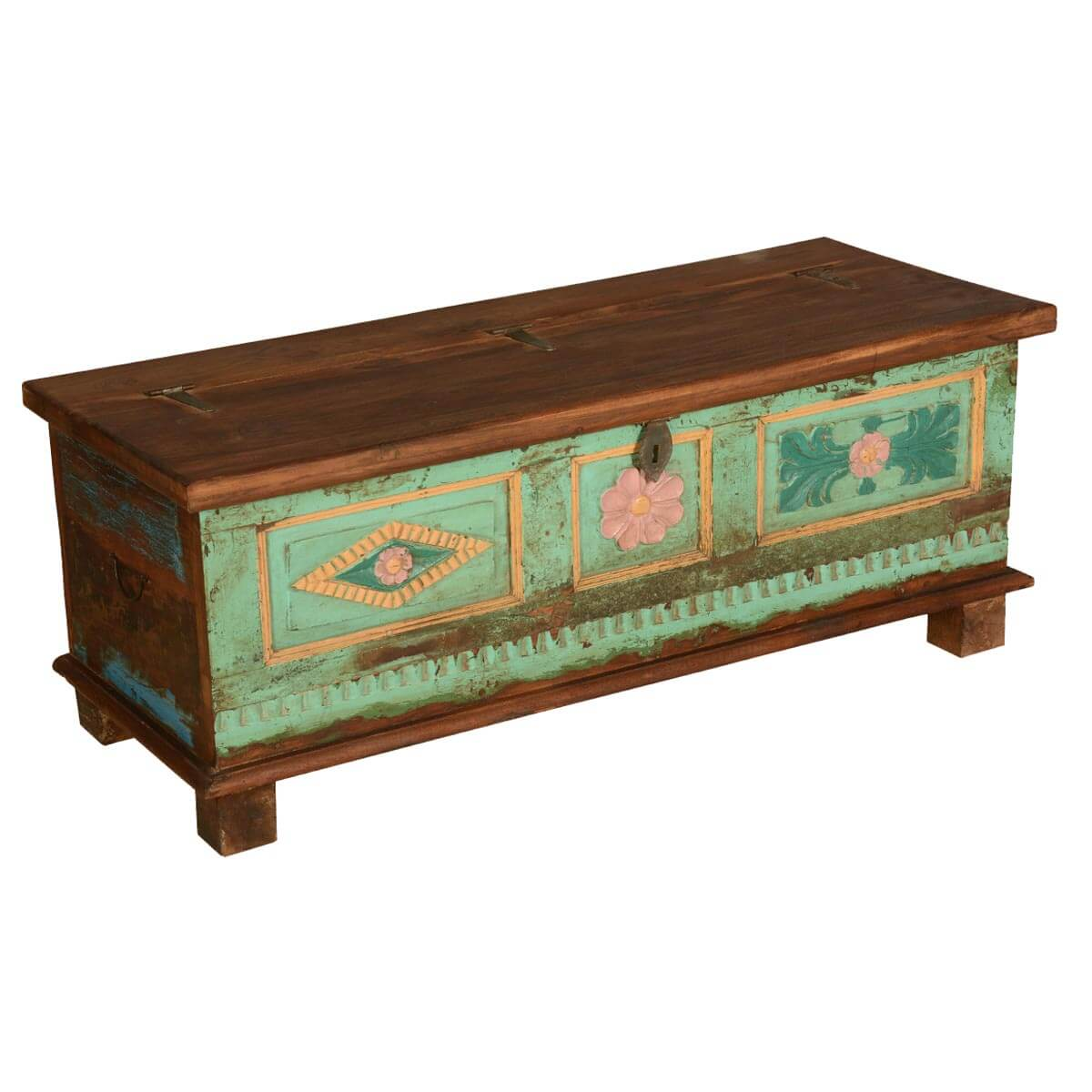 Trunks Chests Distressed Primrose Reclaimed Wood Standing Coffee