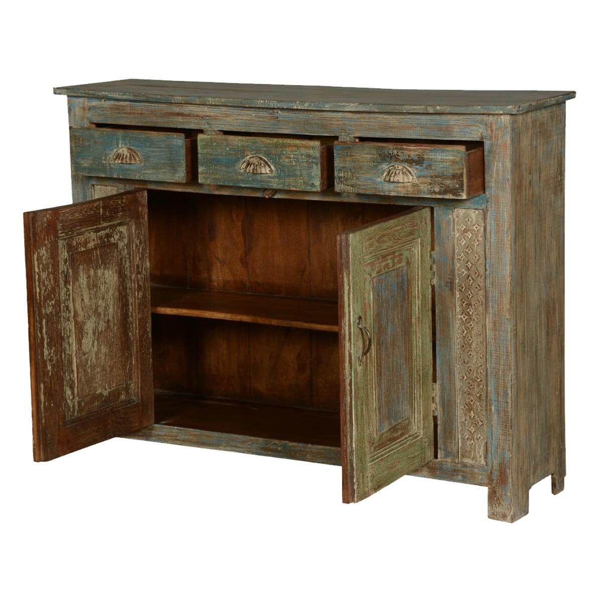 Distressed Wood Buffet ~ Wonderland distressed reclaimed wood sideboard buffet cabinet
