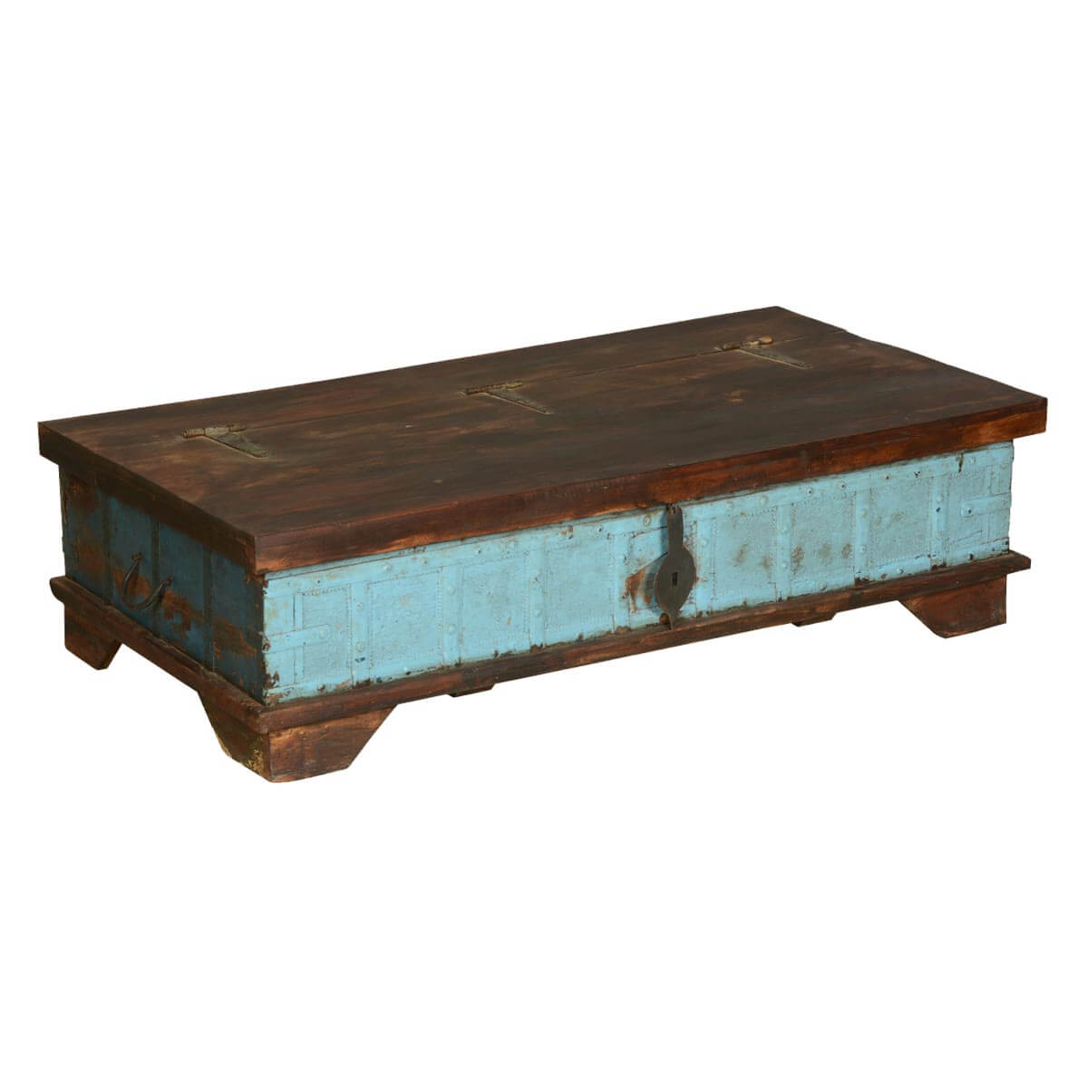 blue front distressed reclaimed wood coffee table chest With aged wood coffee table