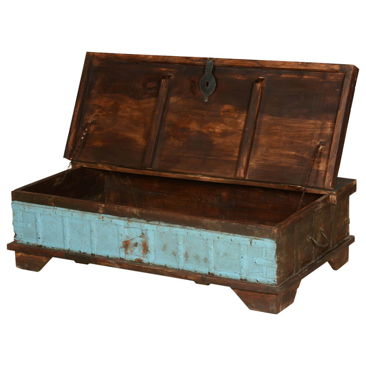 Trunks amp chests blue front distressed reclaimed wood coffee table