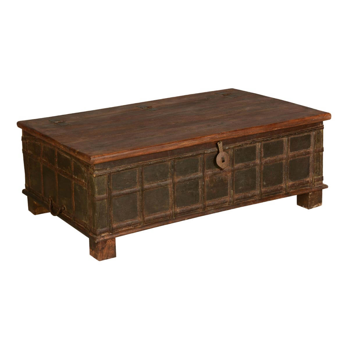 Gothic Traditional Distressed Reclaimed Wood Coffee Table