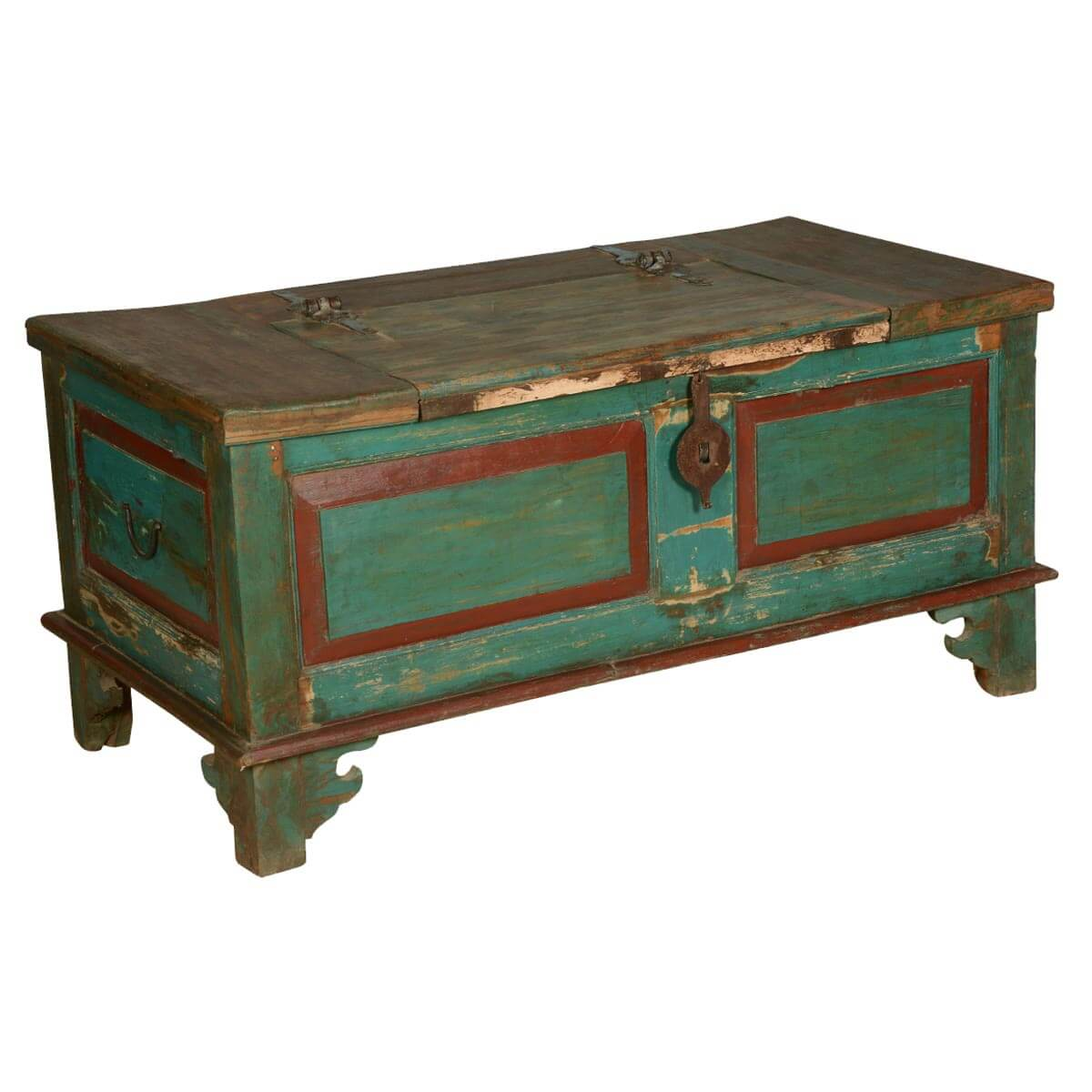 Blue Red Farmhouse Distressed Reclaimed Wood Coffee Table Chest