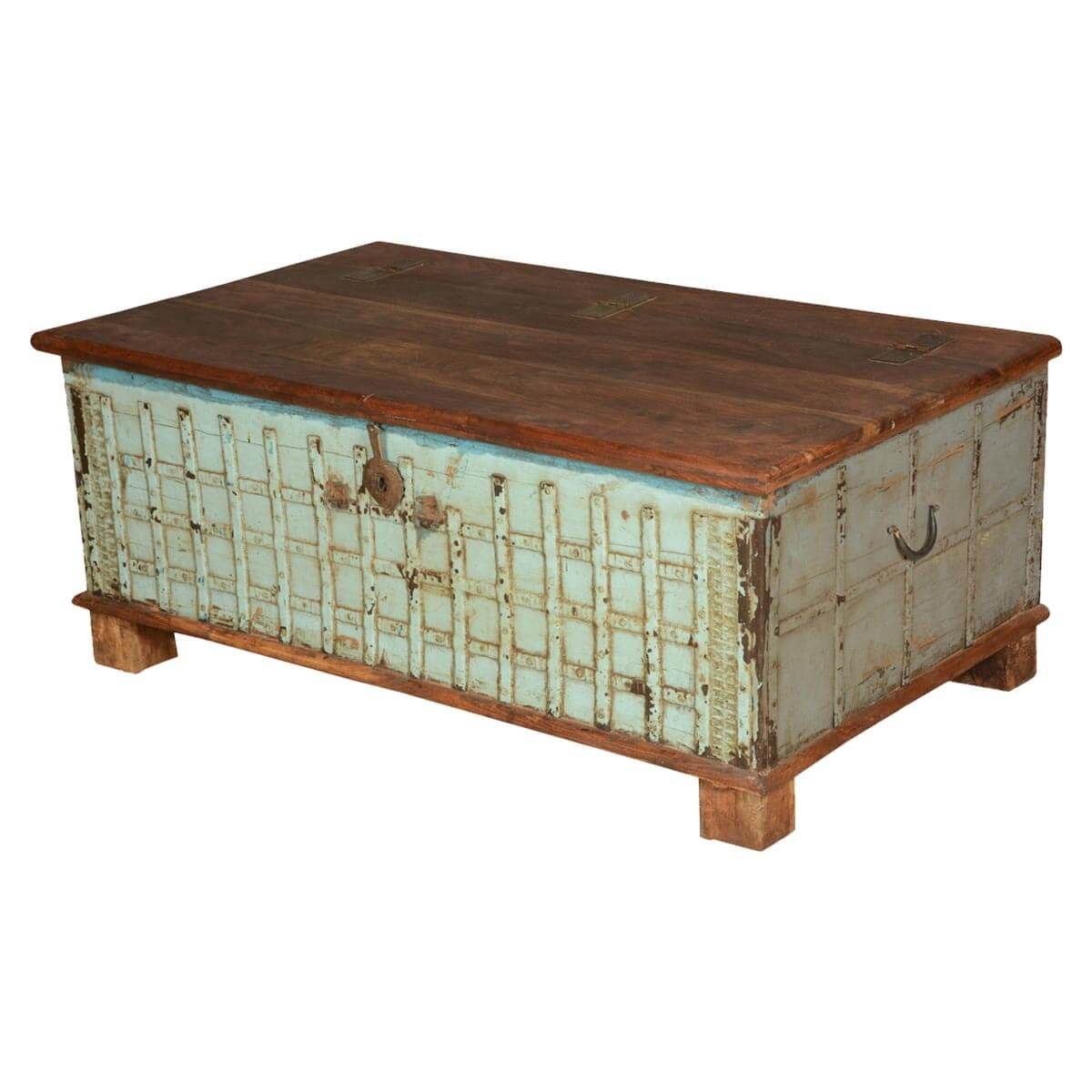 Gothic Lattice Reclaimed Wood Standing Coffee Table Chest Ebay