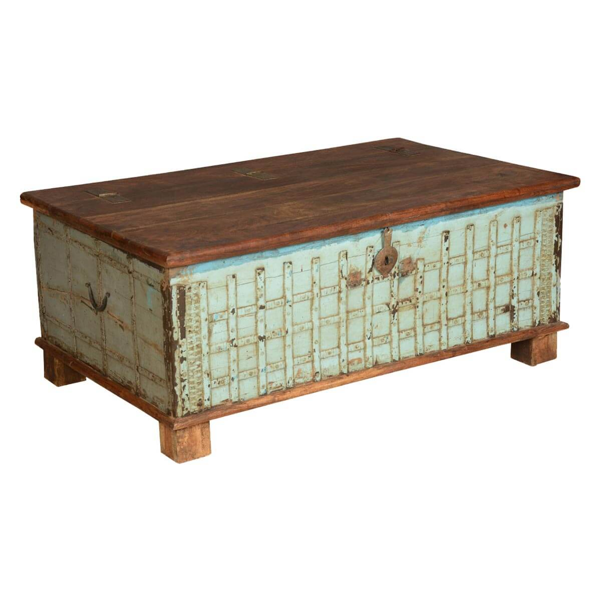 Gothic Lattice Reclaimed Wood Standing Coffee Table Chest