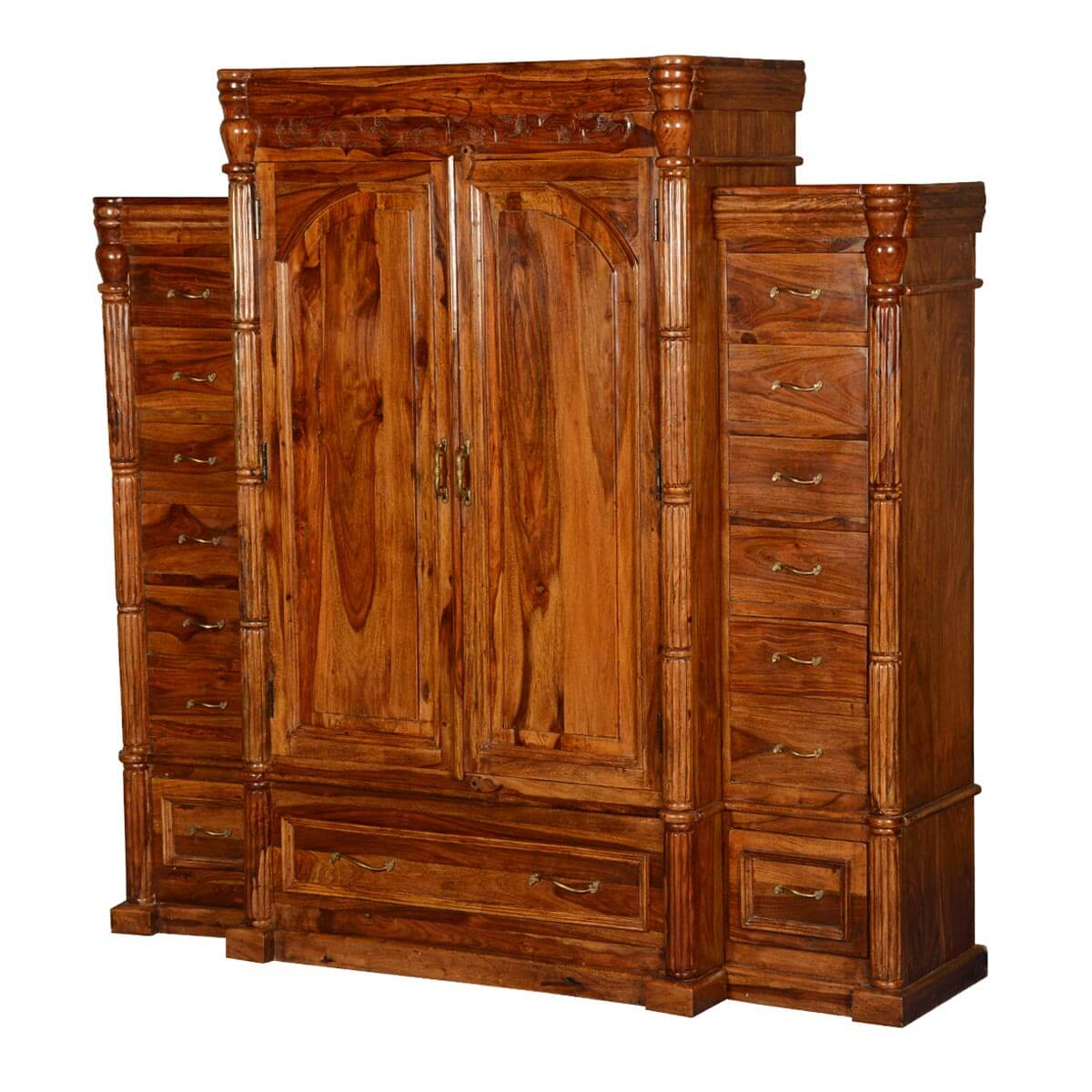 Unfinished Wood Armoire ~ Royal elizabethan solid wood drawer wardrobe armoire