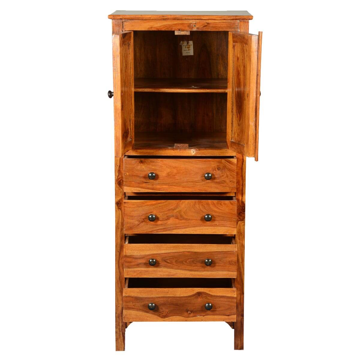 Rustic solid wood 56 tall storage cabinet w 4 drawers for Cupboard and drawers