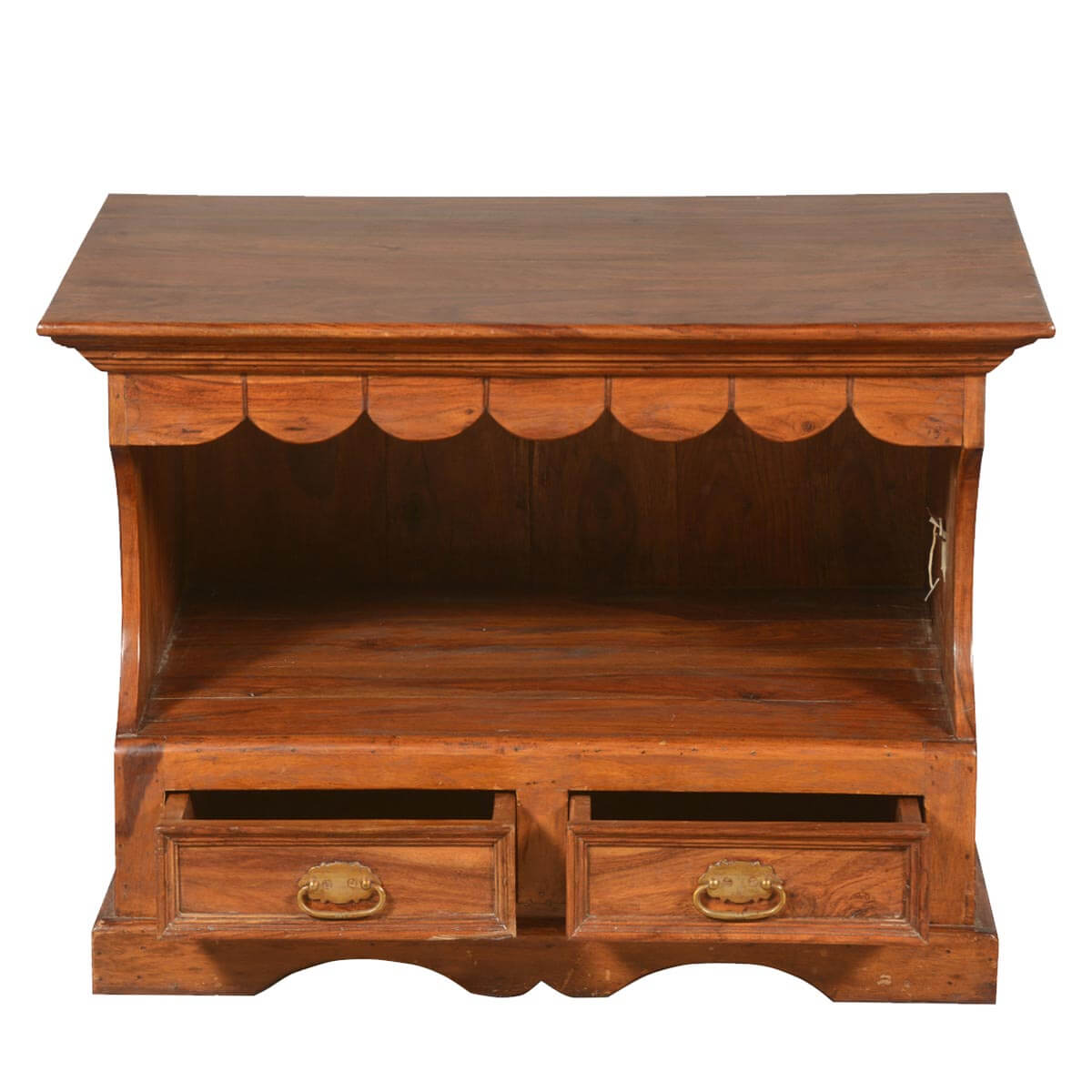 Solid Wood Media Console Rustic Tv Stand W 2 Drawers