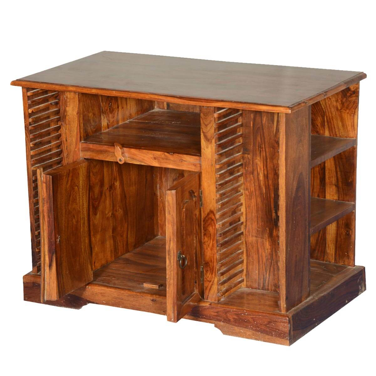Ivesdale rustic solid wood side open media console tv stand