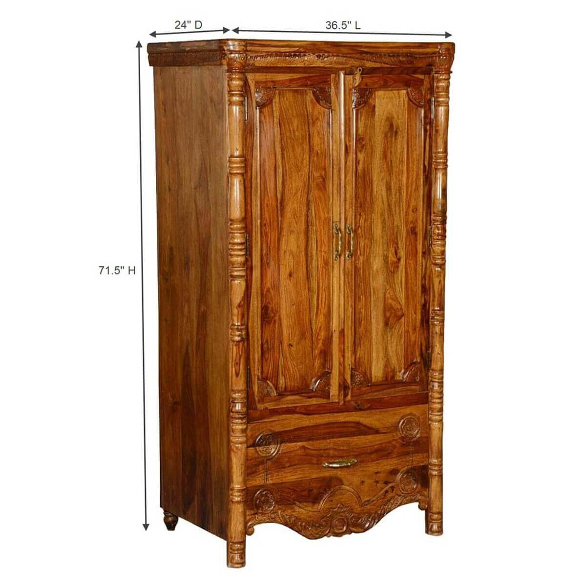 Unfinished Wood Armoire ~ Volusia solid wood single drawer french provincial armoire