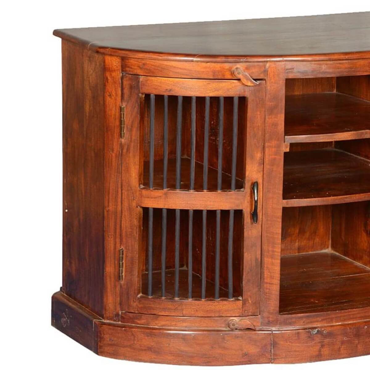 Half moon curved solid wood tv cabinet media center