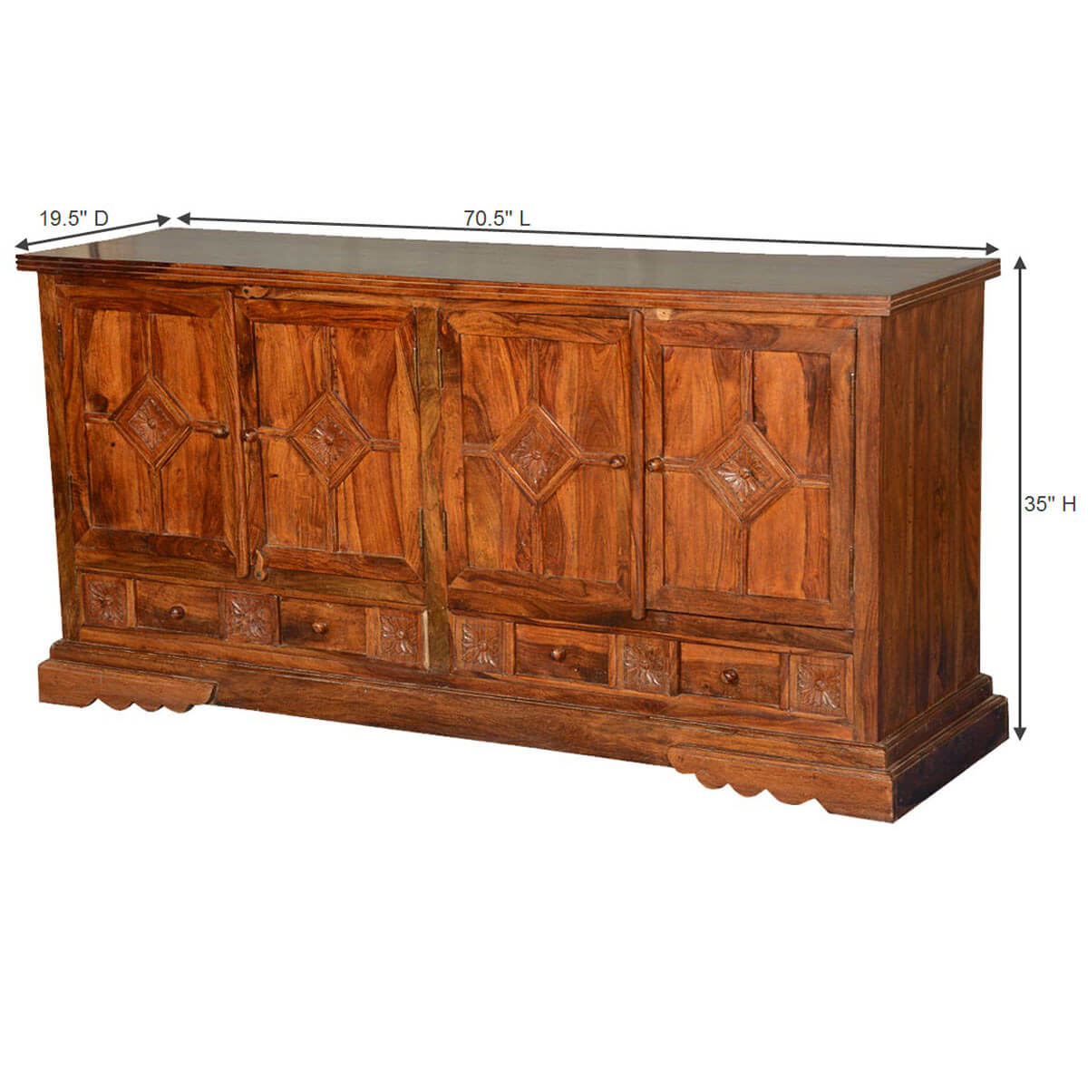 The Kitchen Greeley: Greeley Solid Wood Diamond Doors Hand Carved 2 Big Drawer