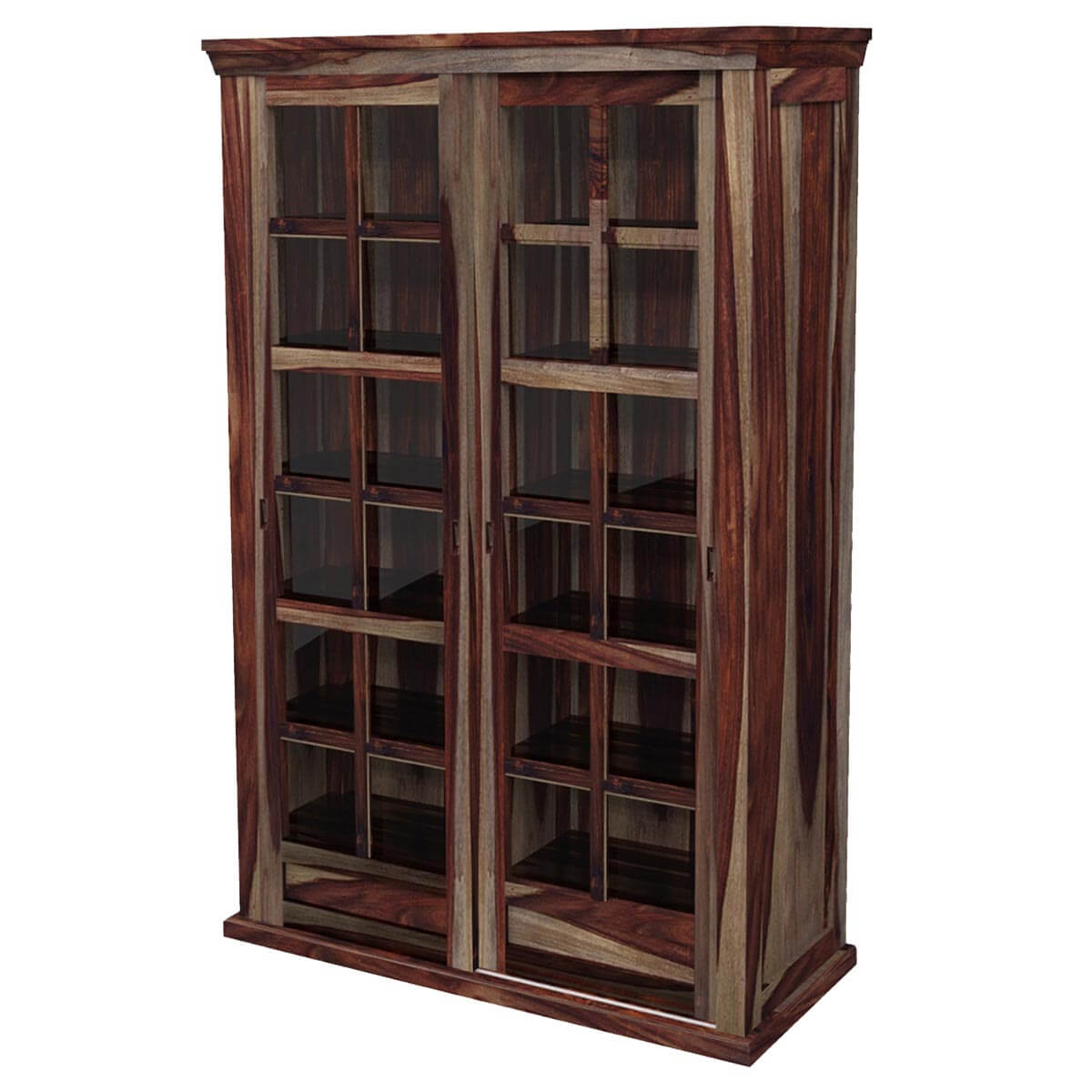 Wooden Storage Cabinets ~ Solid wood rustic glass door large storage cabinet