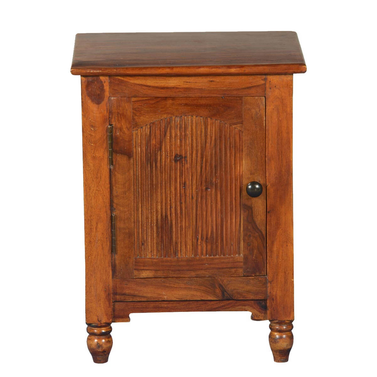 Rustic empire solid wood nightstand end table cabinet for Rustic wood nightstand