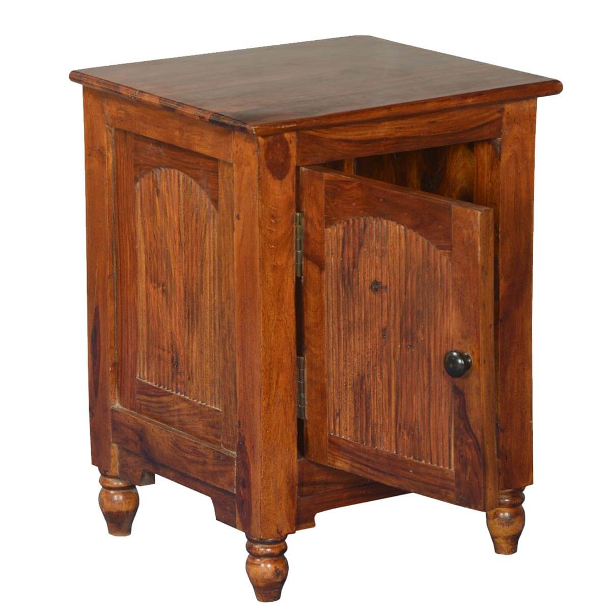 Rustic empire solid wood nightstand end table cabinet for Rustic nightstands