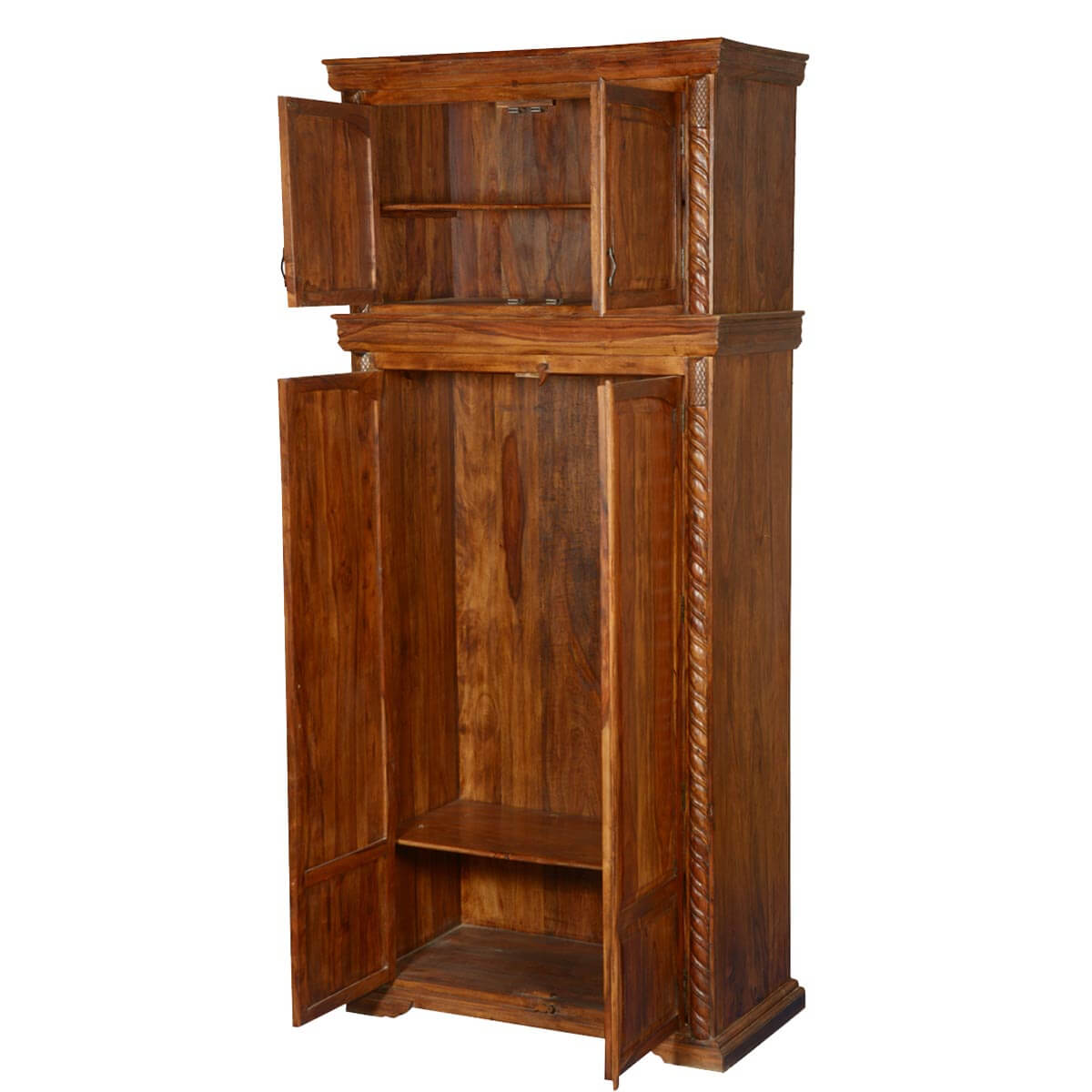 Unfinished Wood Armoire ~ Empire classic solid wood wardrobe cabinet armoire