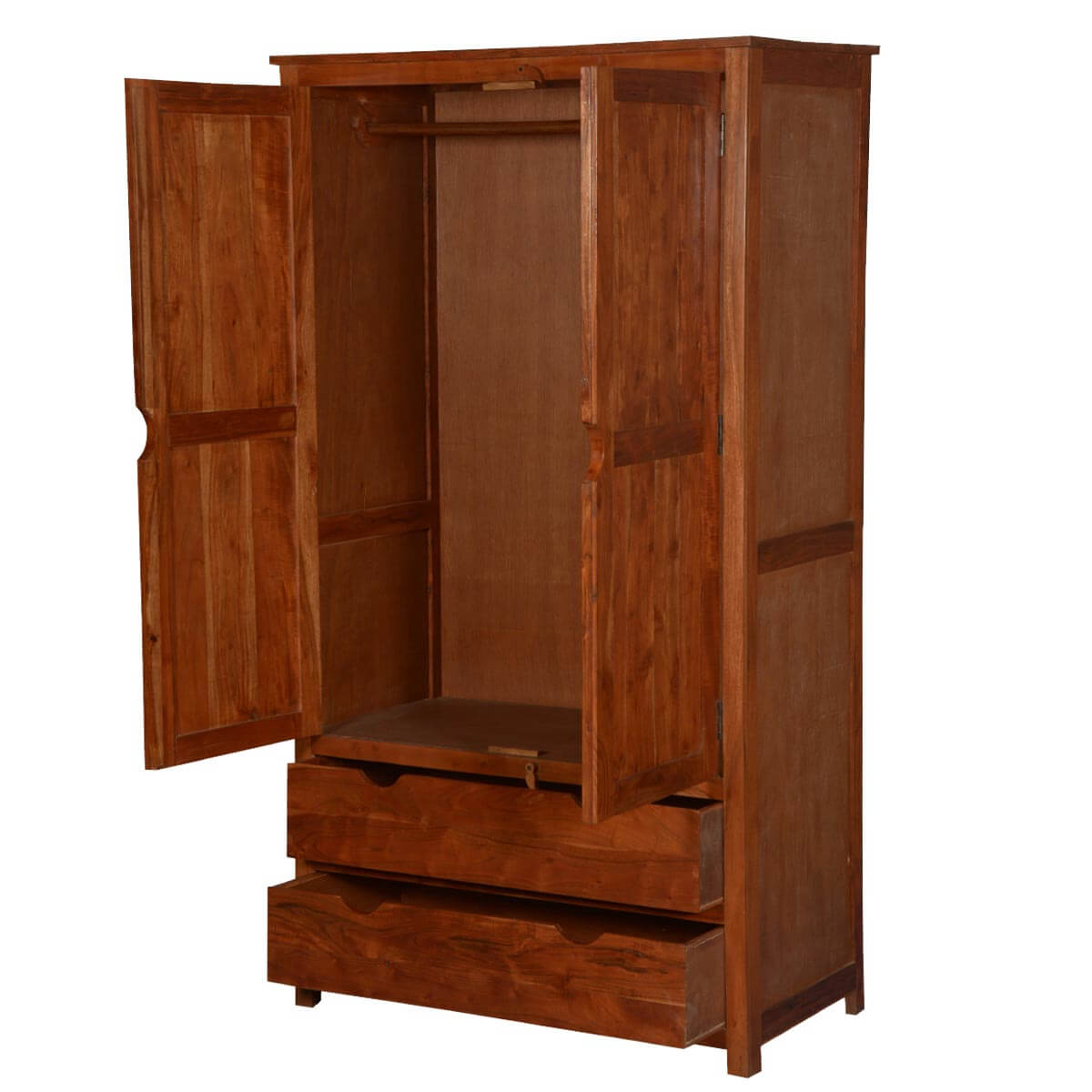 Santa fe contemporary acacia wood wardrobe armoire cabinet for Wood cabinets