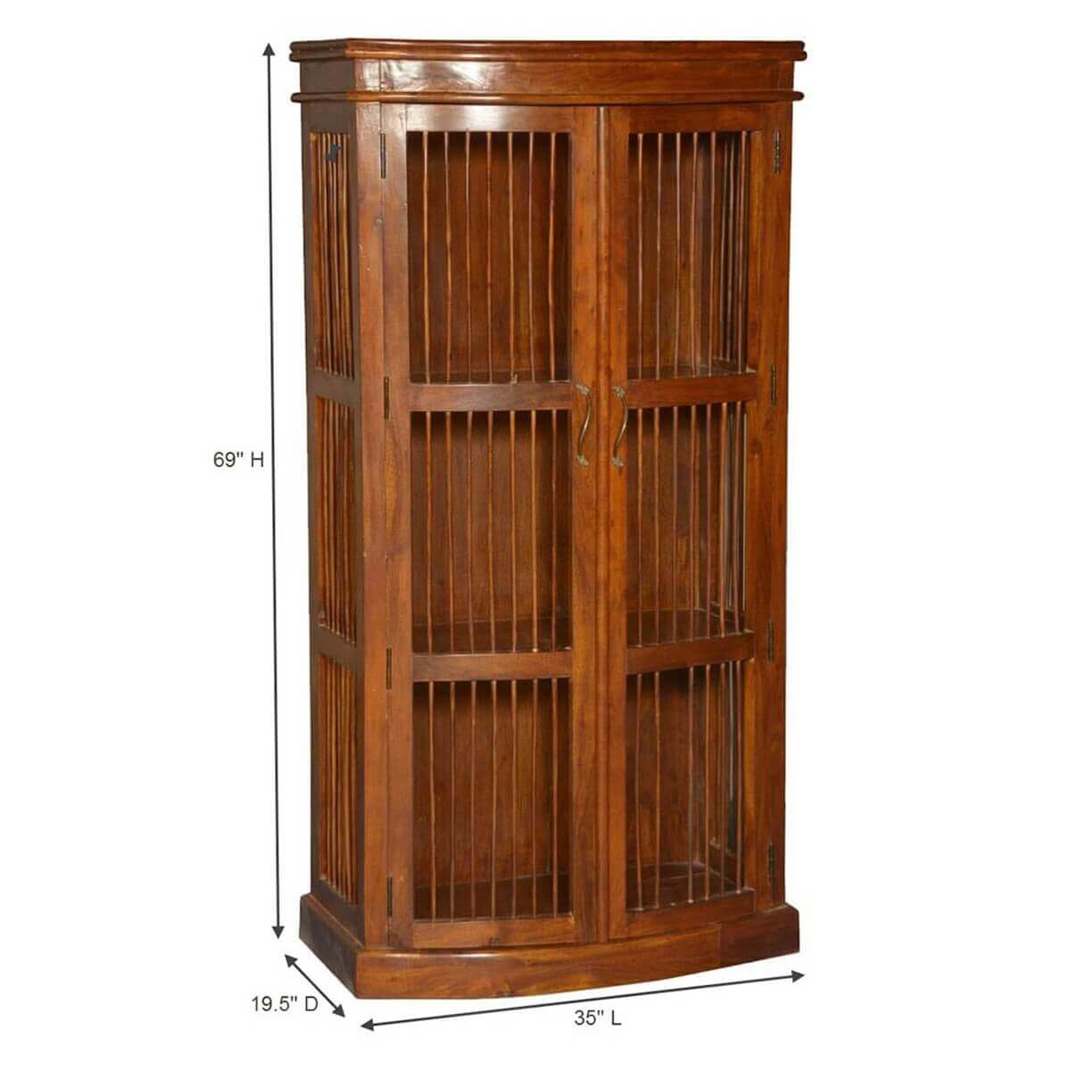 Wild west acacia wood wooden bars curio display cabinet for Acacia wood kitchen cabinets