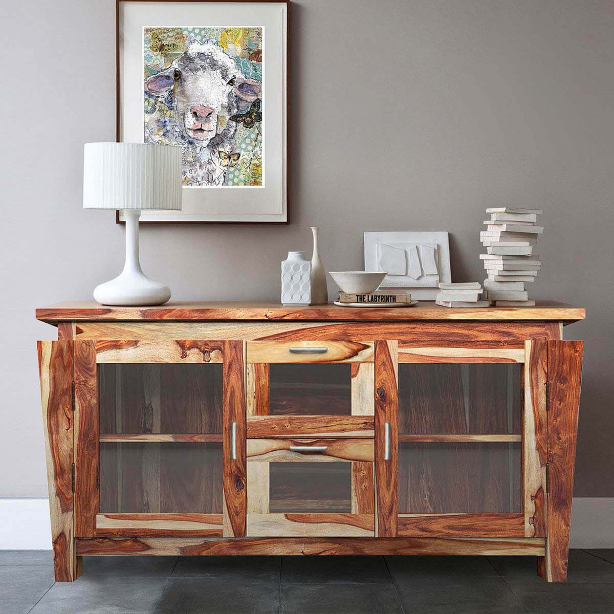 Dallas Ranch Solid Wood Glass Doors Buffet Cabinet