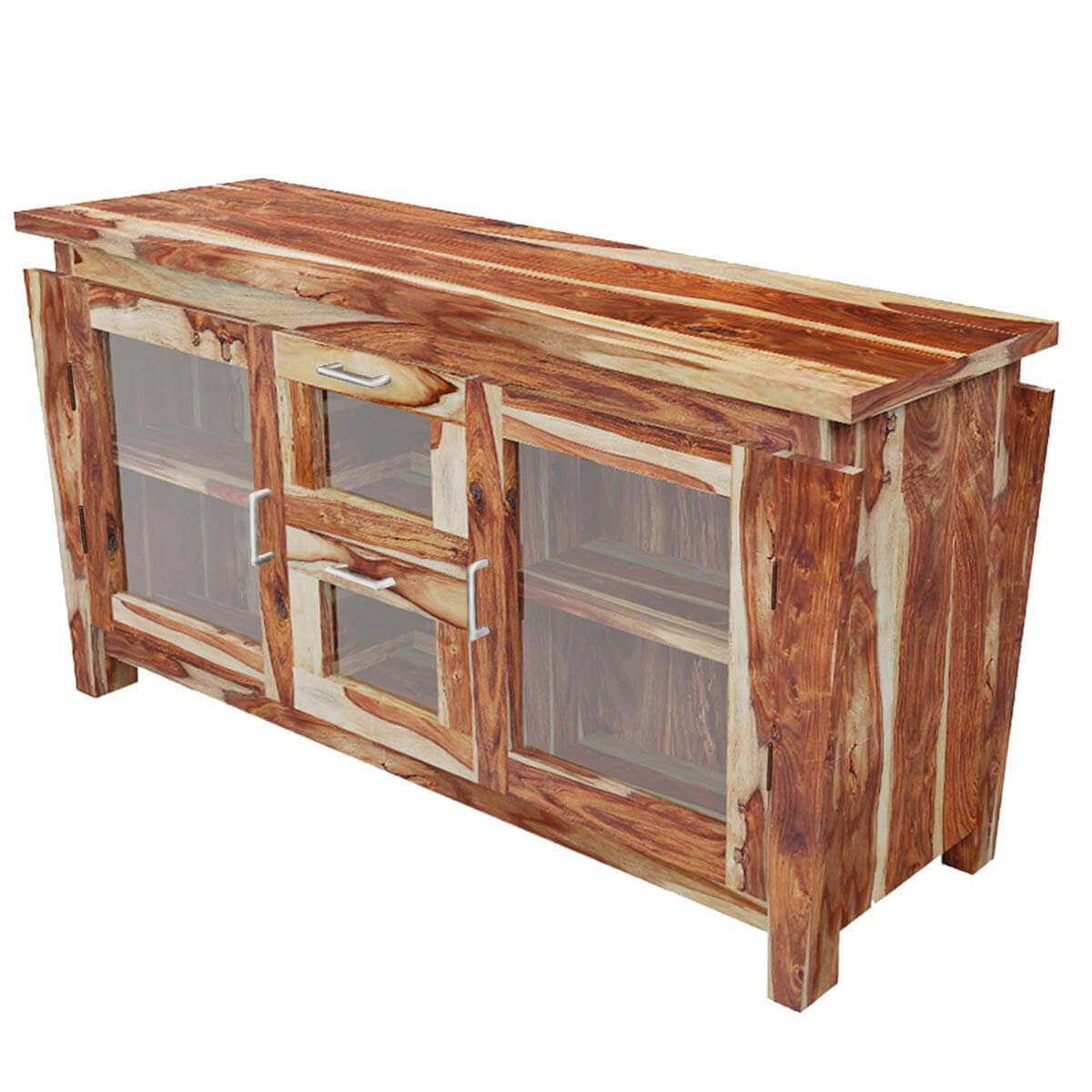 Dallas ranch solid wood glass doors buffet cabinet for Sideboard glasfront