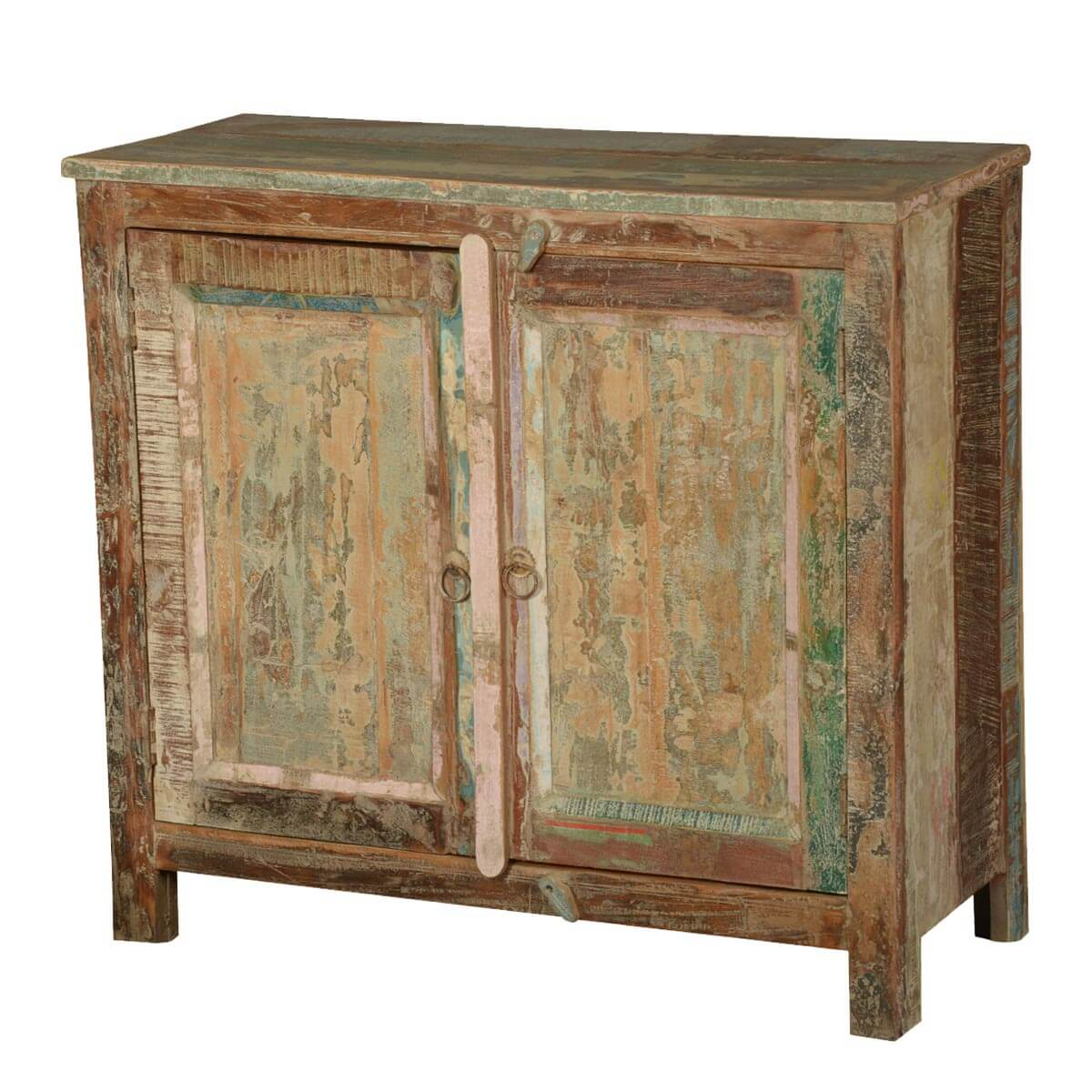 Frontier Rustic Reclaimed Wood Distressed Console Cabinet