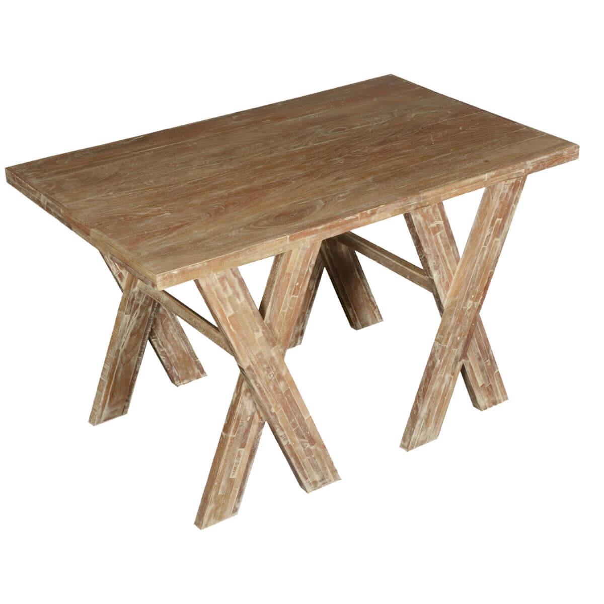 double x acacia mango wood picnic style rustic dining table. Black Bedroom Furniture Sets. Home Design Ideas