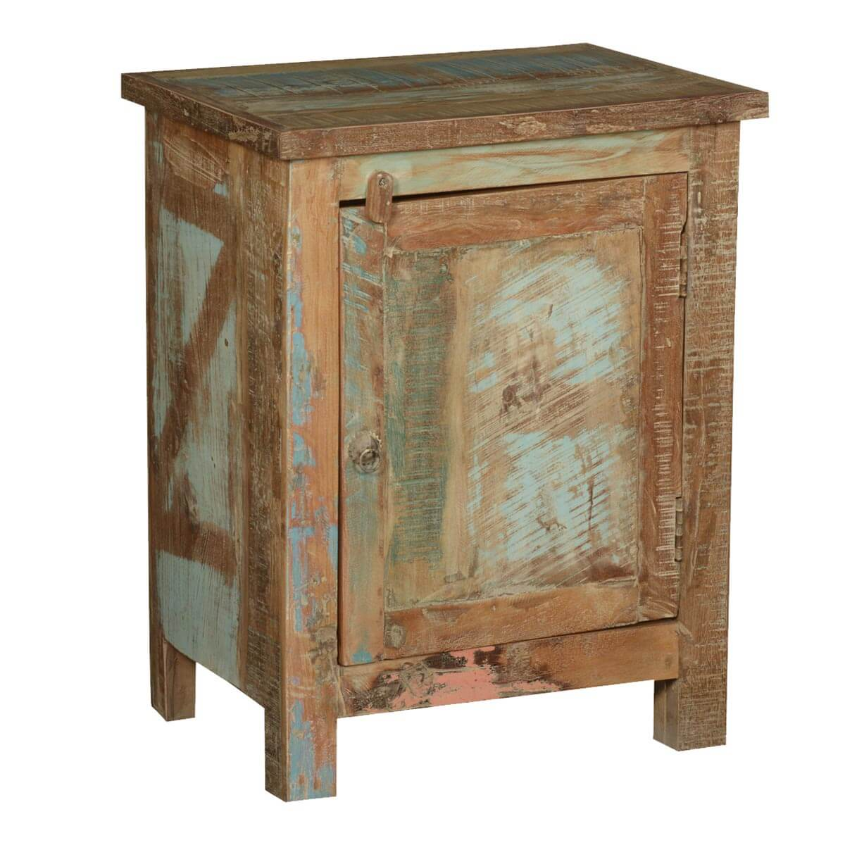 Frontier rustic reclaimed wood nightstand end table cabinet for Rustic wood accent tables