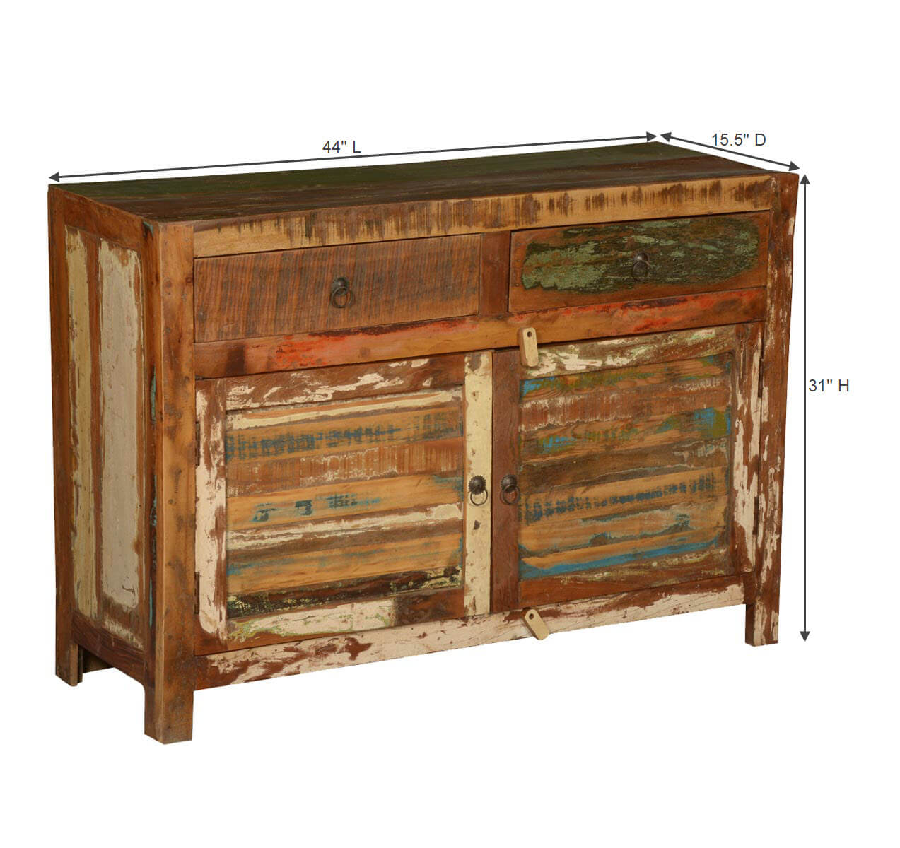 Jerome rustic reclaimed wood drawer buffet cabinet