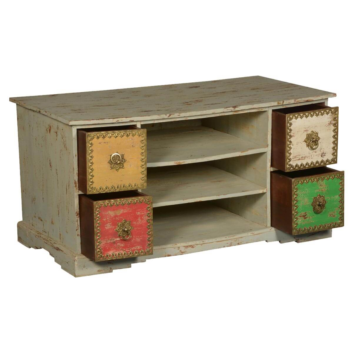 Suffield Distressed Solid Wood 4 Drawer TV Stand Media Cabinet